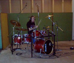 Doctor K recording drum tracks