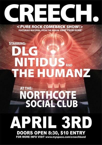Poster: Creech, 3rd April at the Northcote Social Club