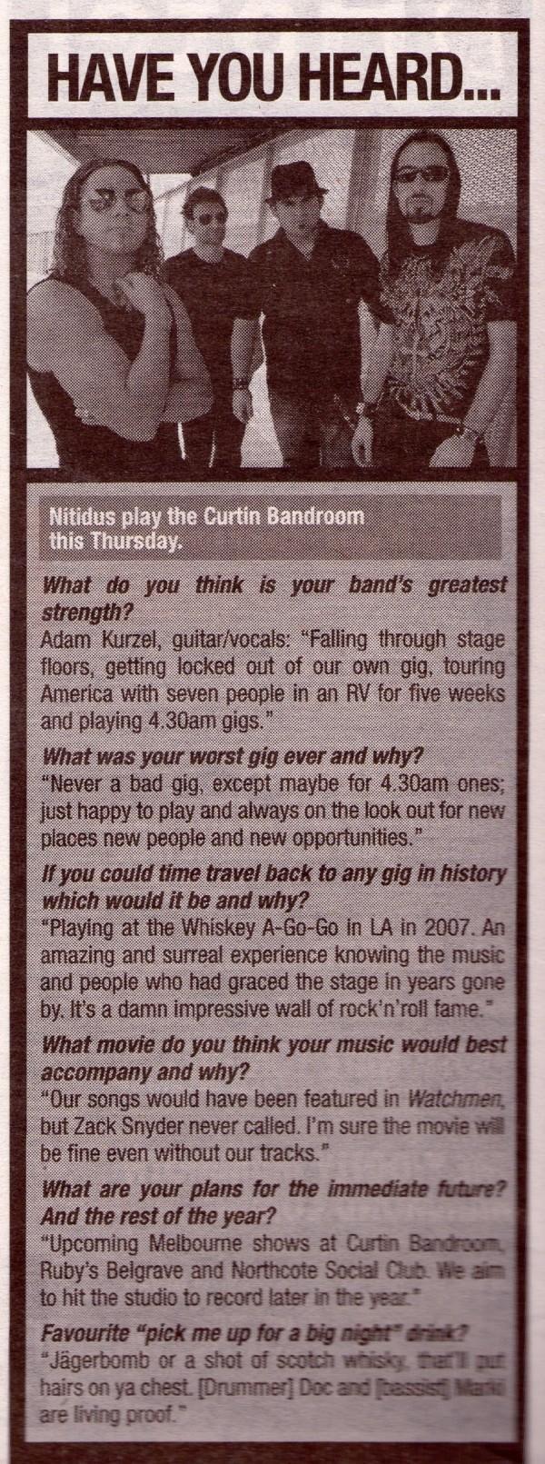 Inpress interview Nitidus 11 March 2009